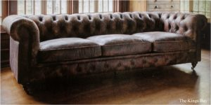Extra Long Aged Leather Couch Old Home Restoration with Brass Hardware Feet