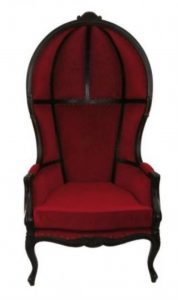 Antique Downton Dome Hearth Porters Chair Red Velvet Balloon Bonnet Canopy