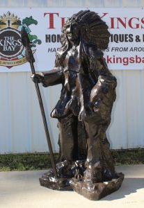 Indian Chief With Spear in Full Headdress Native American Bronze Statue 6' Tall