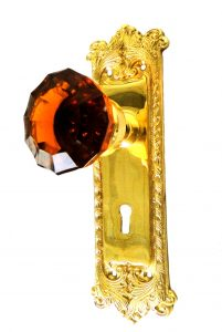Victorian Reproduction Door Hardware Passage Set With Amber Glass Knob Pair