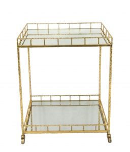 Gold Metal & Mirror Bar Cart Serving Tray Simple Elegant Server