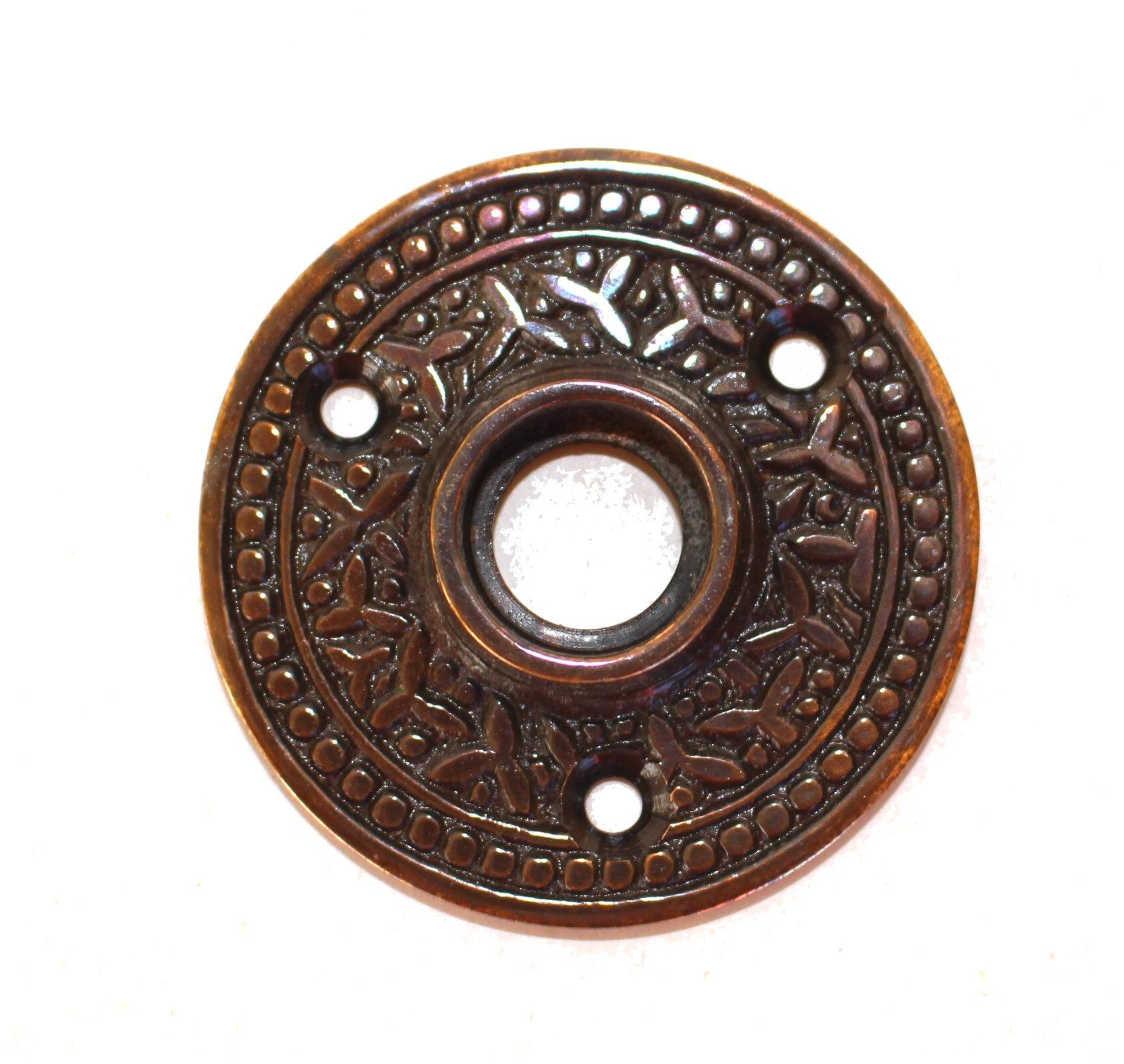 "Brass Victorian Rosette Round Door Plate ""The York"" Vintage Style Aged Bronze"