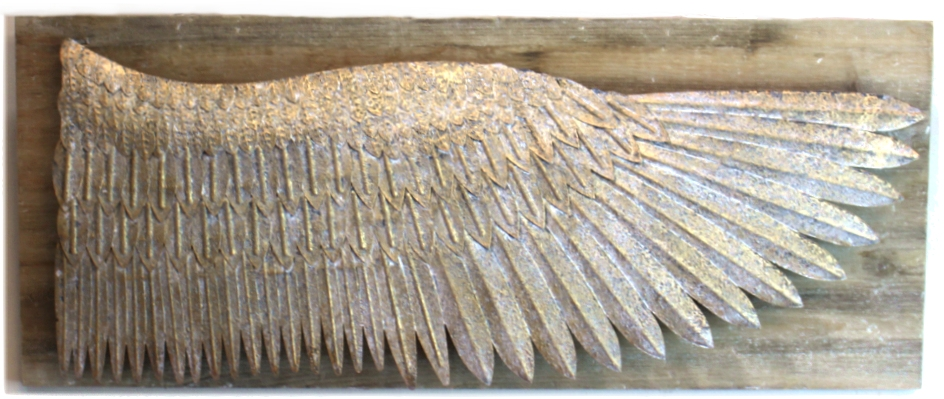 Gold Leaf Wing on Aged Wood Board Wall Art Hand Made Tin Sculpture Galvanized