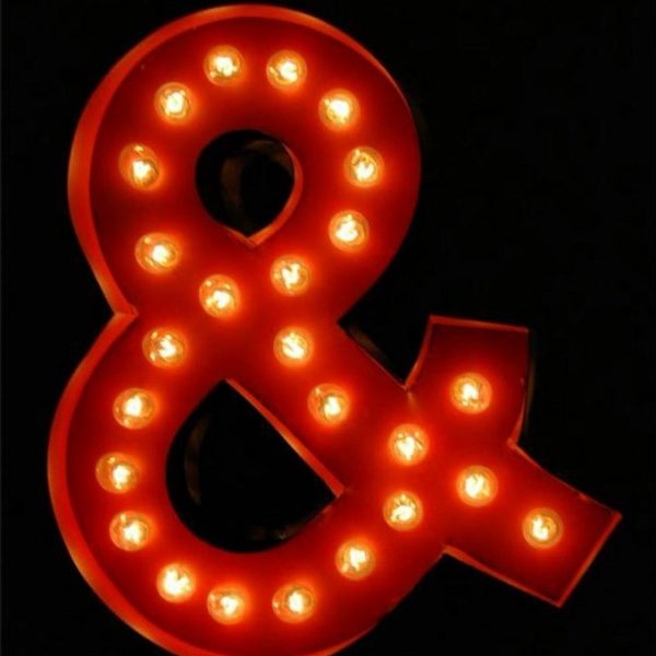 Antique Tin Letter Sign Old Store Paint Ampersand & Retro Designer Sale Item!