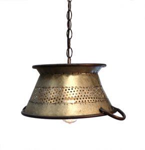 """Galvanized Tin Colander Pendant Light Big 19"""" Diameter Antique Style"""