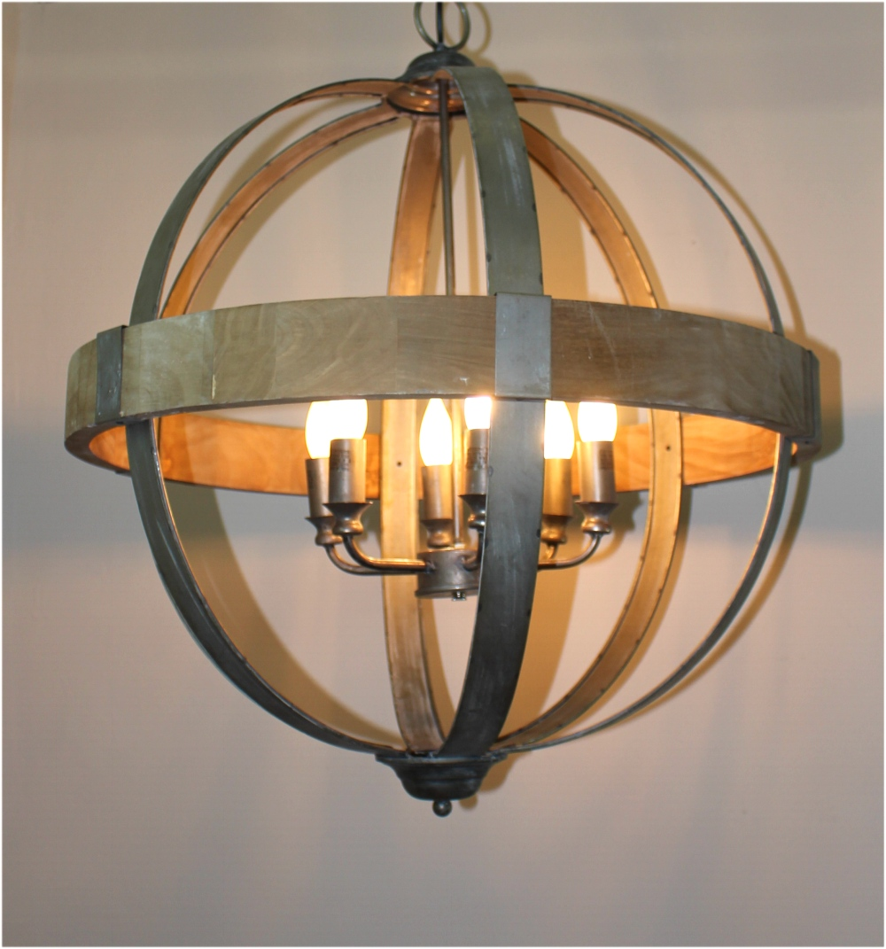 Round Ball Shaped Metal And Wood Chandelier W Pendant