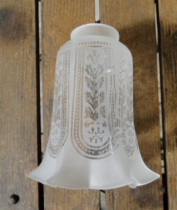 "Victorian Etched with Flares Glass replacement shade 2 1/4"" fitter lighting parts new"