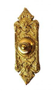 """Antique Replica Brass Door Bell Button Victorian Style 7.5"""" Tall"""