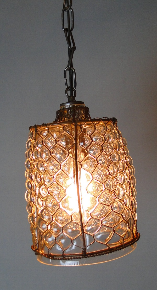 Hand Blown Glass Cottage Chic Honeycomb Pendant Chandelier