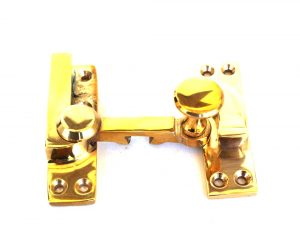 Window Sash Lock in Polished Brass Old Style Restoration Hardware Latch with pull knob