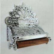 CHROME Plated French Victorian Toilet Paper Holder w Fan Top Vintage Antique Replica