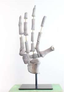 Skeleton Bones Hand on Iron Pedestal Gothic Medieval Style Sculpture