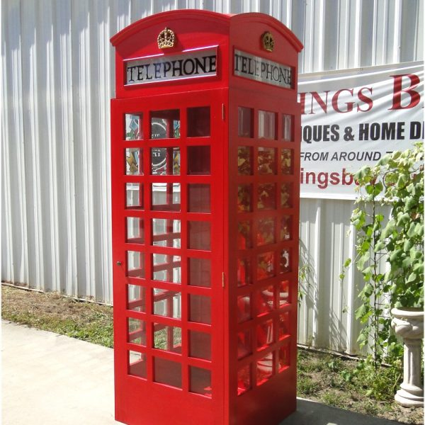 Red Wooden Replica England Telephone BOOTH Old Jaguar London Calling British