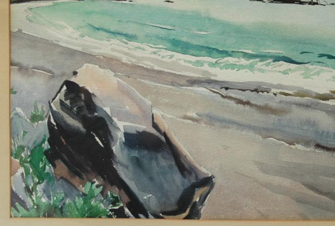 Old Nautical Marjorie Garfield Watercolor Painting Of Sea