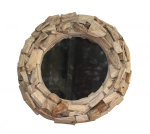 Small Pieces of Driftwood Round Mirror Nautical Beach Theme Home Goods Accent