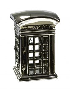 Silver English or British Ceramic Phone Booth Decor