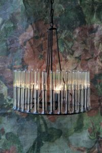 Flower Tube Glass Chandelier with Wrought Iron Frame Ceiling Mounted Light Fixture