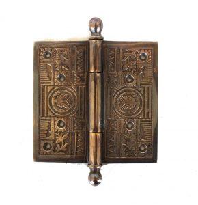 "Victorian Motif Large 5"" Solid Brass Door Hinge Restoration DARKENED AGED New Hardware"