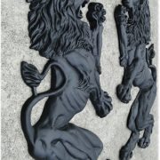 BIG Royal English European Lion Crest Wall Art Pair of Lions in Heavy Metal Construction