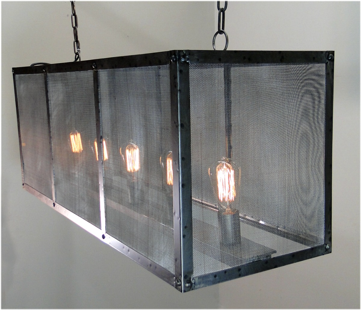 Rectangular Wrought Iron Chandelier Pictures Of Dining: Rectangular Screen Iron Chandelier Hand Made Ceiling Fixture Antique Style