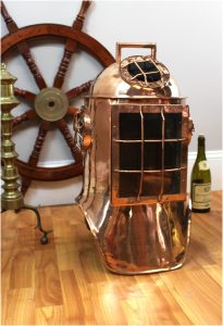Antique Replica Life Size Solid Copper DIVER HELMET, Old Nautical Decor, Rare Diving Decor