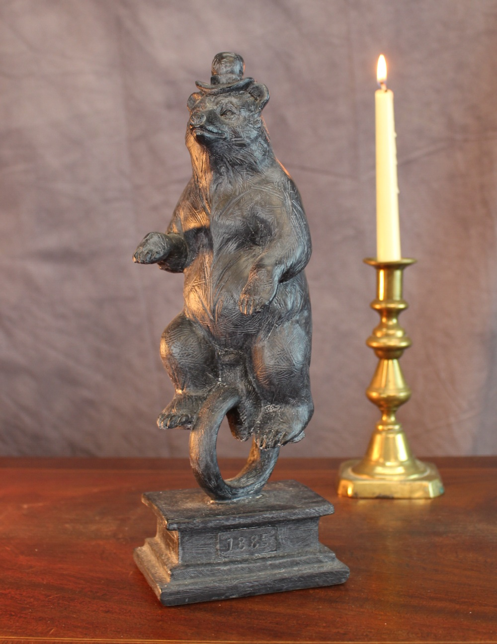A Unicycle Riding Bear 1800's On Pedestal Circus Midway Bicycle Old Style