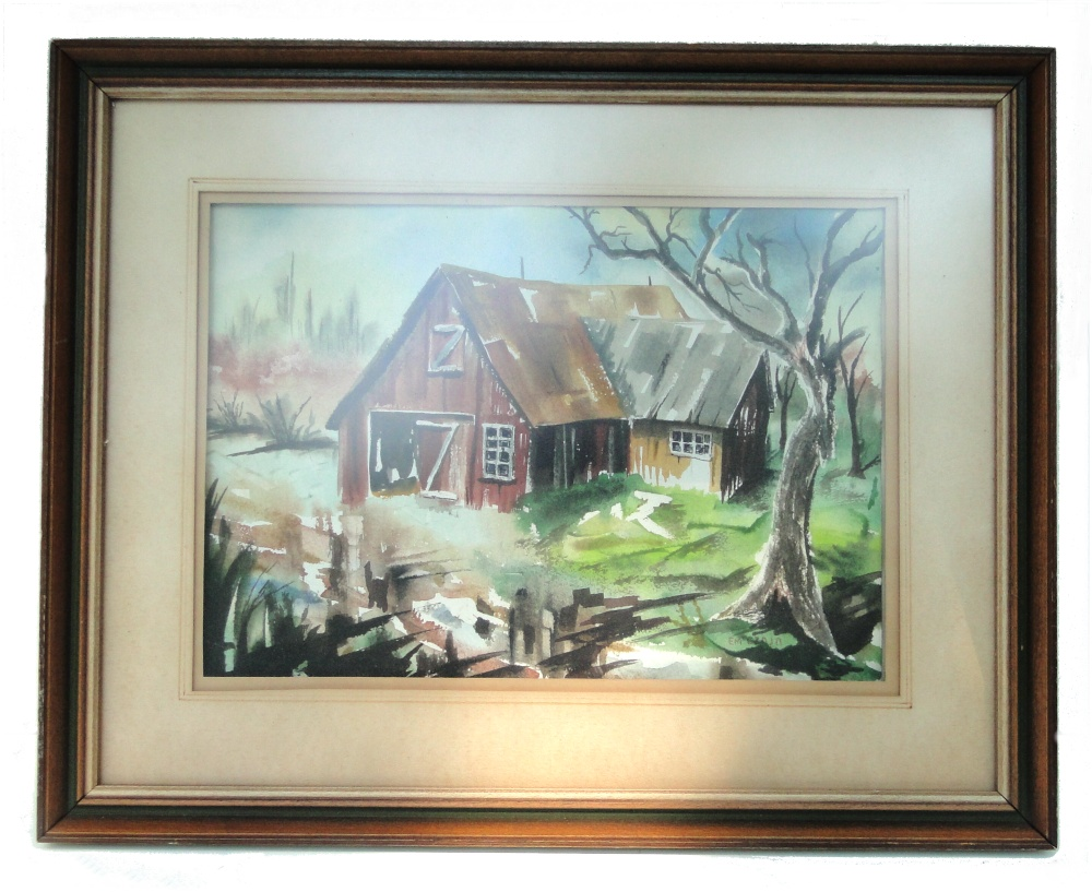 Old Vintage Watercolor Painting Of Two Sided Barn Yard