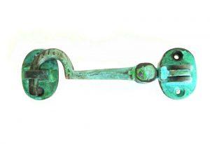 "Cabin Latch Hook Solid Brass Tiffany Green Finish Hardware Vintage Restoration Replica 4.5"""