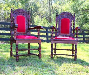 6pc Set Dining Chairs / Arm Chair w Red Velvet, Downton Abbey, Antique Style