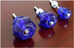 """1.25"""" Cobalt BLUE Glass Cabinet Knobs Pulls Vintage Dresser Drawer Hardware"""