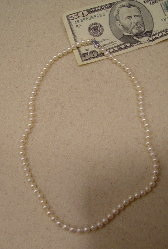 """New BANKRUPTCY Real WHITE PEARL NECKLACE 17"""" Strand HOLIDAY GIFT SALE Priced"""