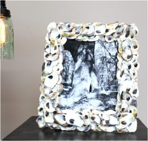 "Real Oyster Shell Picture Frame for Wall or Shelf 8"" by 10"" Photo Nautical Designer Art"