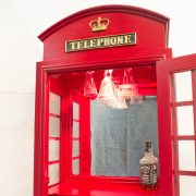 RED British PHONE Booth WOOD Wine Bar Cabinet Old Style Cast Iron Furniture England