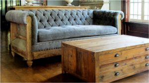 Blue Aged Pine Wood Chesterfield Couch with Tufted Seat and Tassels