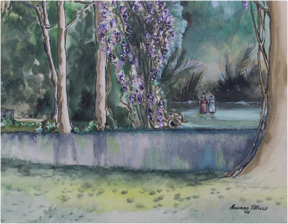 Howard Wills Watercolor Original Painting Trees River and Bridge Southern Moss on Trees
