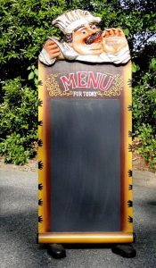 Chef Sidewalk Sandwich Chalkboard Restaurant Menu Sign, Street Advertise
