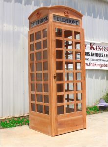 UNFINISHED Wooden Replica English British Telephone Booth, Old Style, British