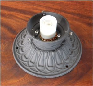 "Cast Iron Ceiling Mounted Porch Light in Cast Iron 3.25"" Fitter Shade Size"