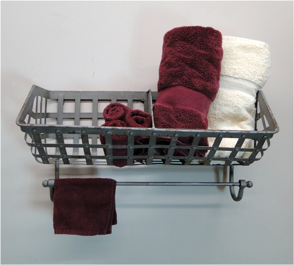 Bathroom Wall Mounted Iron Basket For Towels, Soap, Wine Bottles 1