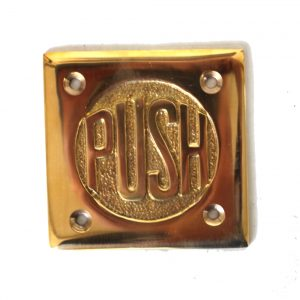 Small PUSH Door Plate in Solid Brass vintage style Old Fashioned Lettering