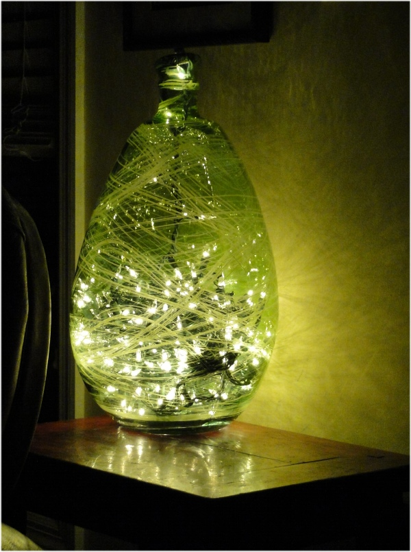 Big Green Glass Free Form Bottle Light Fixture with Christmas Lights Inside