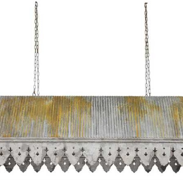 Galvanized Tin Roof with Rusted Ribbed Big Old Building Parts, Antique Style