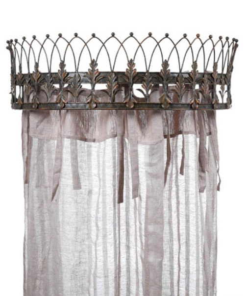 Royal Crown Topped Teester Bed Valance Curtain Holder or For Door Drapery Hardware