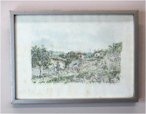 Ilene Gutman Honduras Sketch Watercolorof Huts and Landscape Date 1977