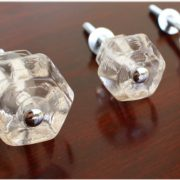 "1"" CLEAR Glass Cabinet Knobs Pulls Vintage Dresser Drawer Hardware"