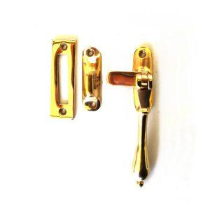 Lovely Brass Window Casement Lock Latch Set w Teardrop Round Handle