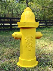 Antique Yellow Fire Hydrant Replica Full Size Heavy Casting Dated 1904 Vintage Style