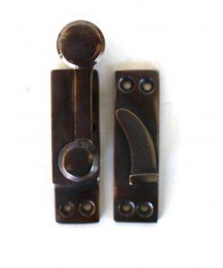 Window Sash Lock in AGED Brass Old Style Restoration Hardware Latch with pull DARKENED