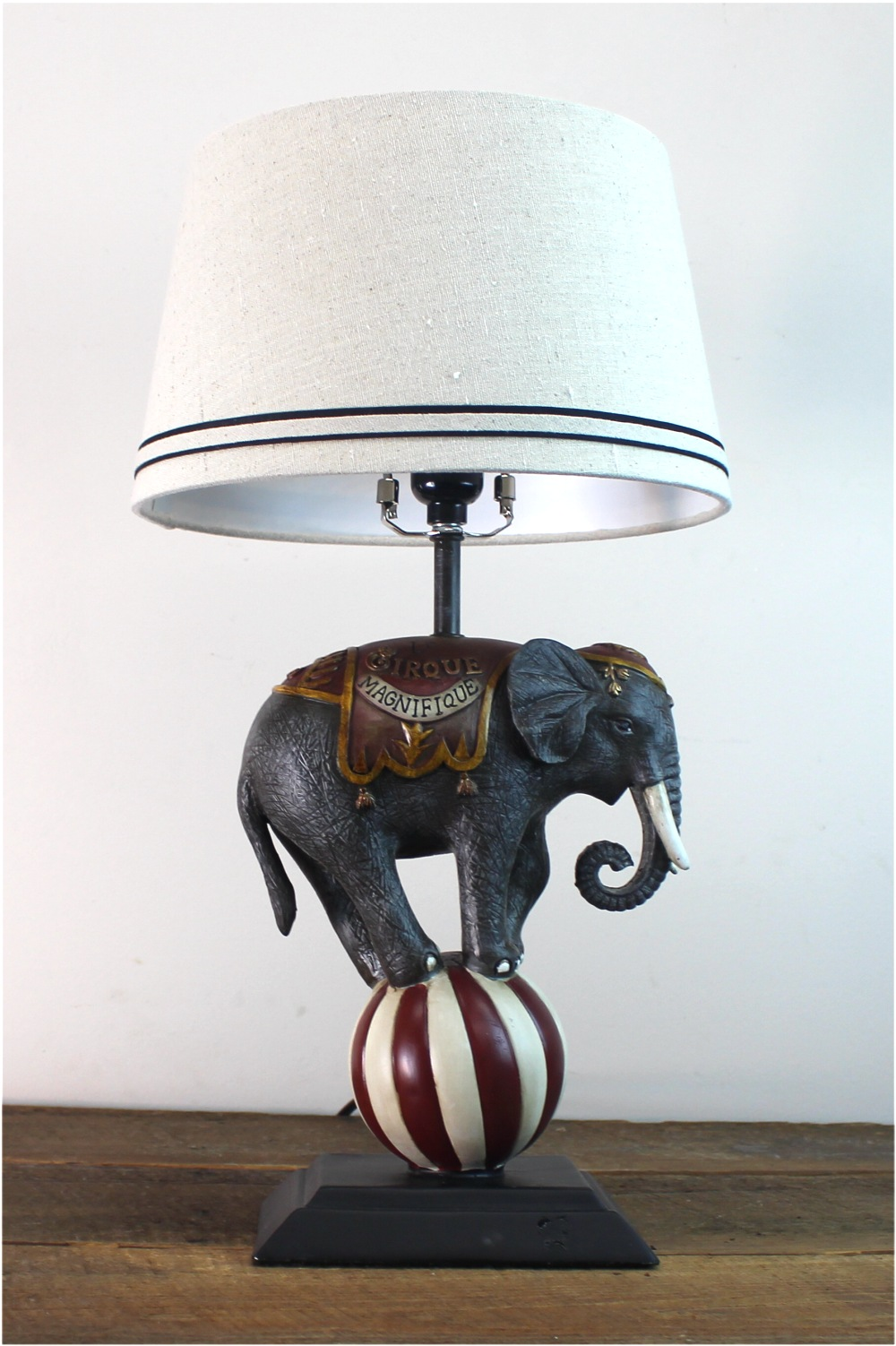 French Magnificent Circus Elephant Table Lamp Antique Style 1
