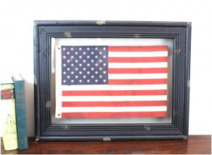 American Flag Shadow Box Vintage Style USA with Aged Black Wood Frame
